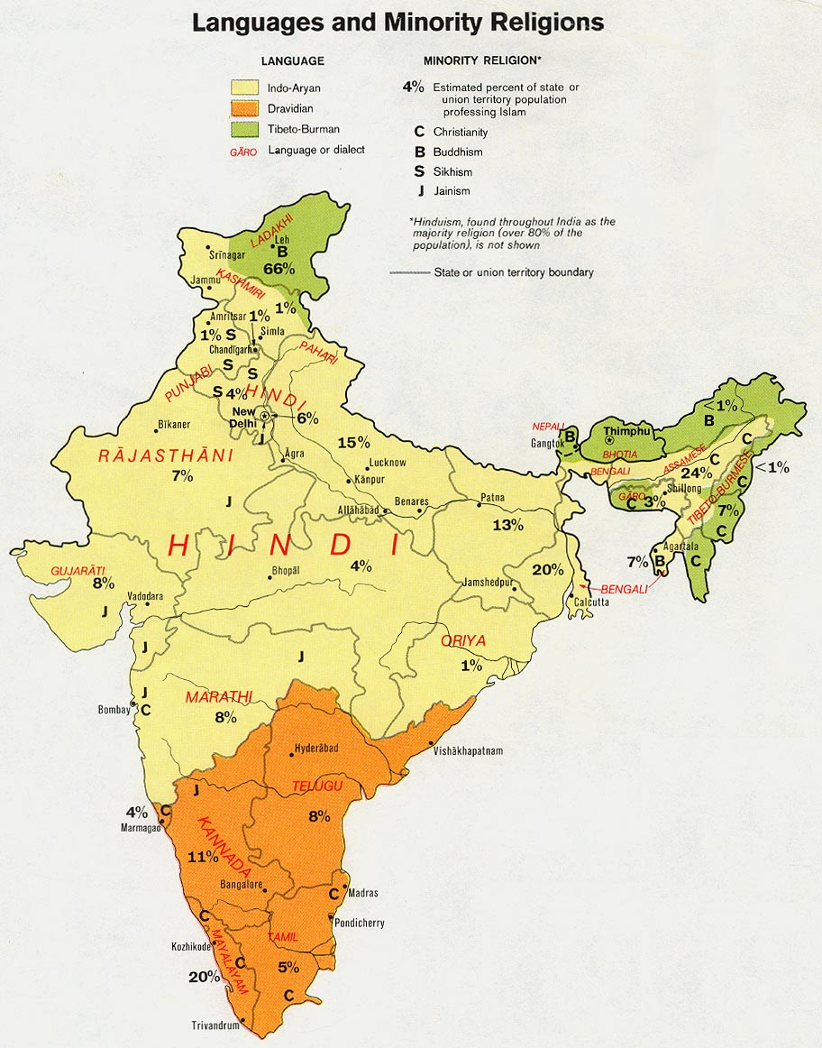 Indian Languages Map, India Map with Indian Languages